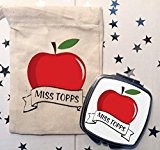 Personalised Teachers thank you make up mirror and gift bag APPLE 2016 design by Cinnamon Bay