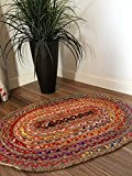 Petit ovale tressé naturel tapis en jute et coton multicolore 60cm x 90cm