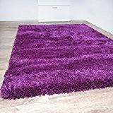 PHC Shaggy Tapis moderne Uni Uni Salon doux Violet, lilas, 160 x 230 cm