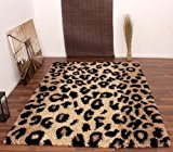PHC Tapis shaggy Motif léopard/beige/noir 160 x 230 cm