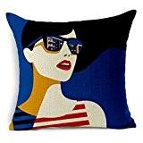 Photo Pal 45x45CM Coton Lin Taie d'Oreiller Carré Housse de Coussin Décoration de Canapé Maison Peinture à la Mode Femme