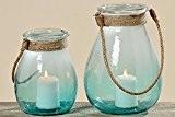 Photophore décoratif Vase Aqua Photophore Bougeoir verre D12H12–27cm–21cm, Verre, turquoise, 3151000