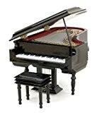 Piano à queue miniature - Bois vernis noir - Objet de décoration - cadeau musique - Livré dans son coffret ...