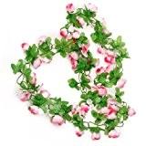 Picama Picama Artificial Rose Garland Silk Flower Vine for valentines Home Wedding Garden Decoration - Pink