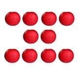 Pixnor Lanternes en papier rondes pour mariage Festival Home décoration rouge - 10 pièces