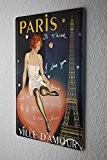 Plaque Émaillée Déco Ville Madame de Paris Tour Eiffel Coeur 20X30 cm