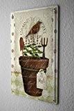 Plaque Émaillée Décor De Cuisine Pot de fleurs menthe jardin pelle râteau oiseau 20X30 cm