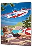 Plaque émaillée Posters Enseignes en métal Panneaux Plaques XXL Rétro Affiche Avion des femmes de maillot de bain plage cônes ...