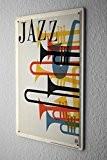 Plaque Émaillée Signe D'Étoile Décoration Jazz Instruments de musique Fun Publicité Signes En Métal 20X30 cm
