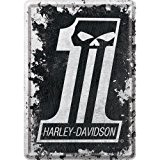 Plaque en metal 10 x 14 cm - Harley-Davidson Skull No 1
