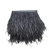 Plume d'autruche Appliques à Coudre Décor Vêtement Danseur DIY Bijoux 1 Yard - Gris foncé