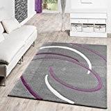 Poils Courts Salon Tapis Moderne Motif spirales Gris Violet Crème ausverkauf, 120 x 170 cm
