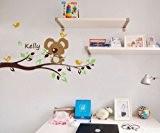 popdecors–mignon koala Ours avec Custom Enfant Nom (119,4cm H) Custom Beautiful Arbre Stickers Muraux pour Chambre d'enfant ado filles garçons ...