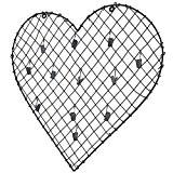 Porte Photographies Pêle-Mêle 12 Accroches Clichés Motif Coeur à Poser en Fer Patiné Gris 1x37x38cm