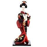 POUPEE ASIATIQUE DECORATION - Geisha Kimono Noir et Rouge