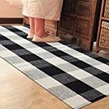 PRAGOO Coton tapis tressé motif à carreaux Tapis Tapis de cuisine rayé Tapis de salle lavable Noir blanc gris 60*130cm