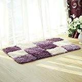 Pragoo Tapis de salon moderne et doux à poils longs Motif à carreaux, Polyester, violet, 50*80cm