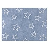 PROMOTION - Tapis de sol enfant 120x160 cm bleu étoile blanche