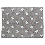 PROMOTION - Tapis de sol enfant 120x160 cm gris étoiles blanches