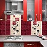 PS00021 PVC autocollants carreaux pour salle de bains et cuisine Stickers design - Style japonais floral fantaisie - 64 carrelage ...