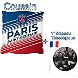 PSG coussin officielle collection 2017 du Paris saint germain 40x40cm supporters club football + 1 drapeau télescopique offert , supporters ...