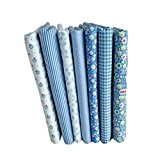 QHGstore 7pcs bleu série coton tissu fleur motif floral couture matériel textile pour bricolage patchwork literie 25*25cm