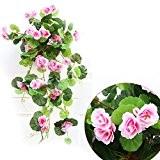 QHGstore Soie artificielle Begonia fleurs de vigne Hanging Vine usine de bricolage Garland Accueil rose