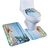 Qianle Tapis Toilettes Un Ensemble de 3 Pièces Paillasson Antidérapant SDB 3#