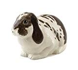 Quail Ceramics lop-eared Tirelire en céramique lapin–Marron et Blanc