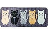 Quibine Mignon Chat Tapis Rectangle Déco Tapis Flanelle, 50*120CM, Noir