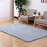 Quibine Tapis Rectangle Shaggy Déco Maison Chambre Salon, 50*160CM, Gris Argenté