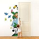 R00005 Stickers muraux pour enfants imprimé sur papiers peints Wall Art - Animaux safari 2
