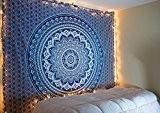 Raajsee Cadeau de Noël Bleu ombré Mandala, Bohemian Tapisserie, psychédélique Décoration murale à suspendre éléphant Tapisserie, Hippy hippie Tapisserie Taille ...