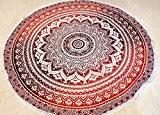 Raajsee - #rnd24 - Tapis rond indien motif Mandala en coton - Rouge dégradé - Style bohème - Pour la ...