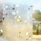 Rabbitgoo® Film pour Fenêtre Statique Décoratif Film pour Vitre Adhésif 3D Film Intimite Autocollant Discrétion 90 cm × 200 cm