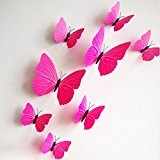 Rainbow Fox 3D PVC 12 PCs Papillon Stickers muraux Pour Party Decoration (Rose)