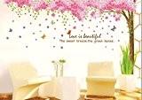 Rainbow Fox Grand Rose Sakura Fleur de cerisier Arbre Autocollant Mural Stickers PVC amovible Wall Decal pour les filles et ...