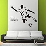Rainbow Fox PVC amovible de football de football nous sommes les champions mur papier peint autocollant autocollant pour la chambre ...