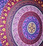 rawyal- barhmeri Cercle de fleurs, multicolore Tapisserie Mandala Tapisserie mur indien de suspension 137,2x 213,4cm