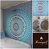Rawyal Tenture murale indienne représentant un mandala Idéal pour apporter une touche hippie-bohème à votre tête de lit Bleu foncé