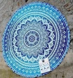 rawyalcrafts Belle Mandala indien rond roundie de plage Tapisserie Hippie Boho coton Gypsy Rond Tapis de yoga