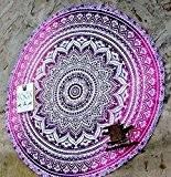 rawyalcrafts roundie de plage ronde ombre Mandala indien Tapisserie hippie Boho coton Gypsy Rond Tapis de yoga