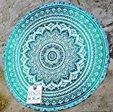 RawyalCrafts Tapisserie murale/tapis de yoga rond Mandala indien en coton