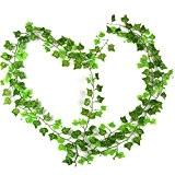 RayLineDo® Pack de 12PCS Nouveau jardin Decoration Faux plantes Vert Feuillage vigne feuilles de lierre Vert artificiel guirlande vigne