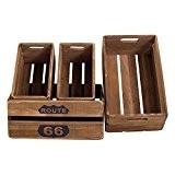 Rebecca srl Set de 4 Caisses Boites Bois Marron Rustique Shabby Jardin Garage Cuisine (Cod. RE4591)