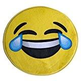 Rebecca Srl Tapis d'entree Flanelle Pvc Jaune Ronde Smile salle de bain Chambre à coucher (Cod. RE4692)