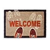 Relaxdays 10016784 Welcome Paillasson Tapis d'Entrée Rectangulaire Fibre de Coco Multicolore 60,0 x 40,0 x 1,5 cm