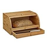 Relaxdays Boîte à pain tiroir couteau caisse à pain en bambou bois couvercle HxlxP: 21 x 40,5 x 28 cm, ...