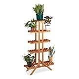 Relaxdays Etagère à fleurs en bois escalier pour plantes échelle plantes intérieur HxlxP: 142,5 x 83 x 28,5 cm - ...
