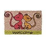 Relaxdays Mini Paillasson enfants avec motifs chats tapis entrée pour les petits fibres de coco tapis de sol chambre enfant ...